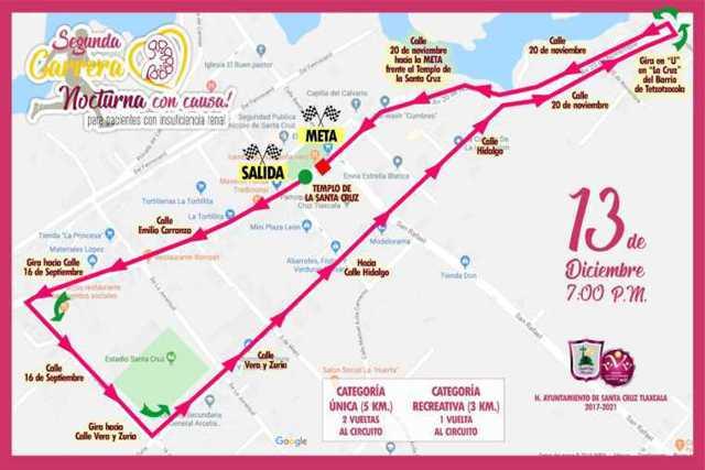 Santa Cruz Tlaxcala invita a la segunda carrera nocturna con causa