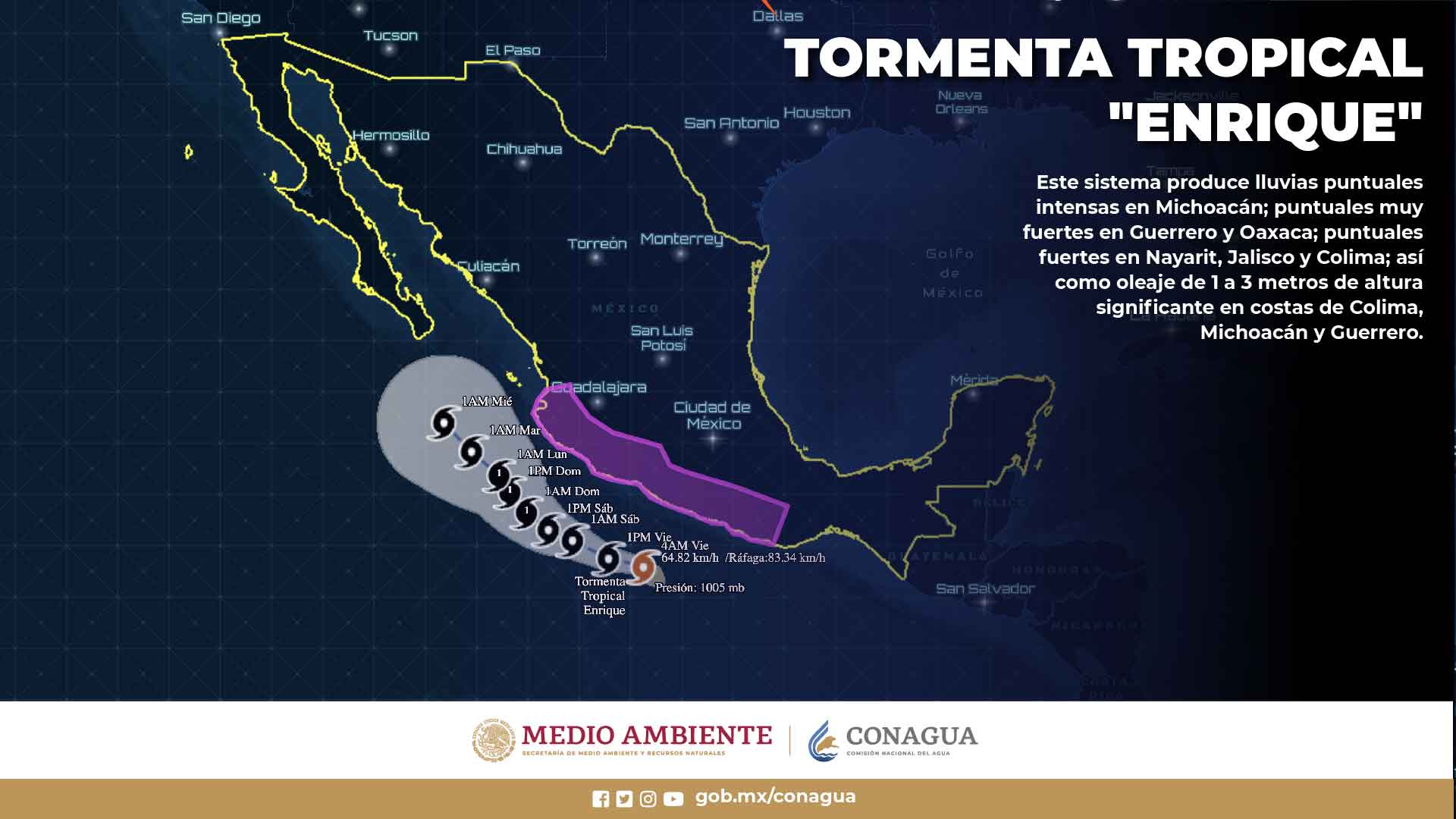 Se pronostican lluvias puntuales intensas en Colima, Guerrero, Jalisco y Michoacán