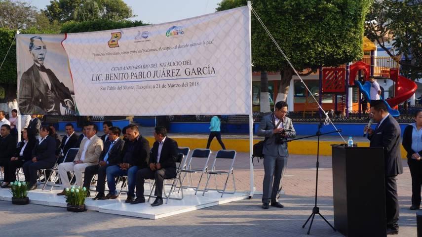 Ayuntamiento de San Pablo del Monte conmemora el natalicio de Benito Juárez