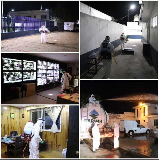 Continúan jornadas de sanitización en espacios y edificios públicos, y barrios de Huamantla