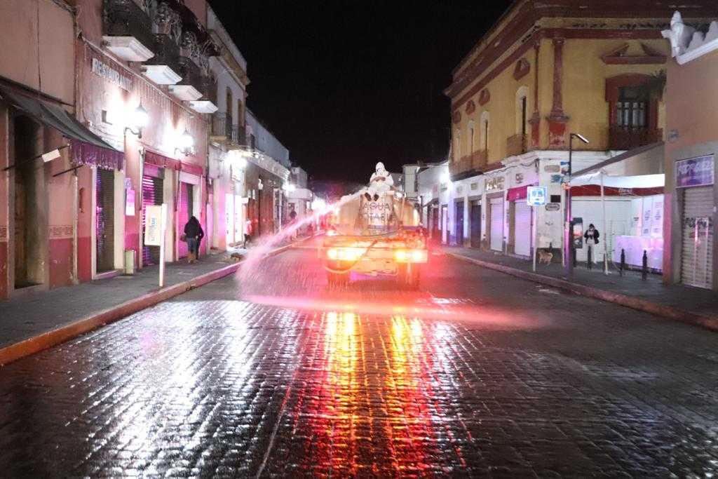 Arrancó la primera jornada de sanitización de calles y espacios públicos en Huamantla