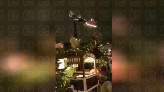 Inédito: El Vuelo De Santa en el encendido del árbol en Apizaco