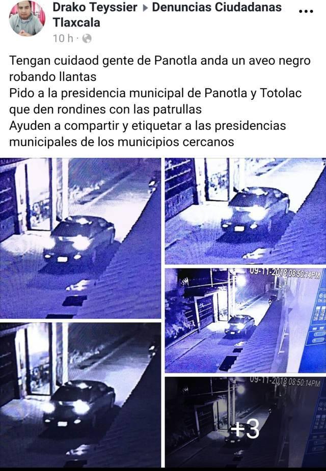 Detectan cámaras de video a banda de roba llantas en Panotla
