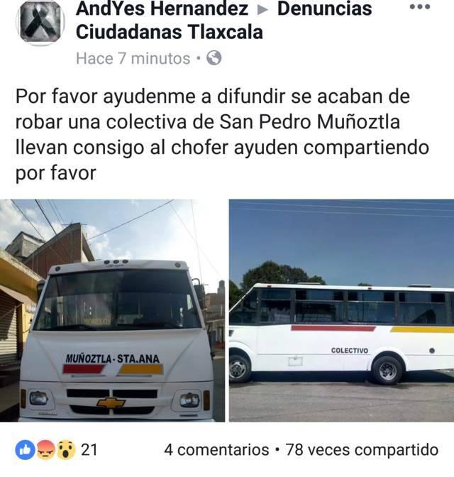 Roban colectiva en Muñoztla; siguen imparables los atracos en Tlaxcala