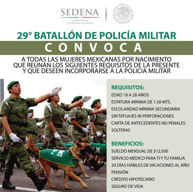 Convoca SEDENA a mujeres integrarse a la policía militar mexicana