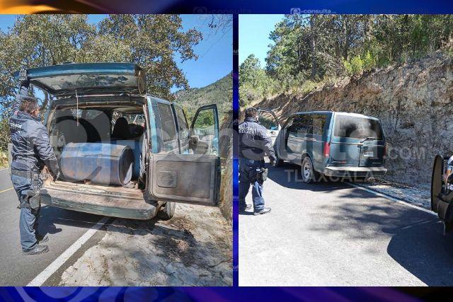 La SSC asegura una camioneta con hidrocarburo en Tlaxco