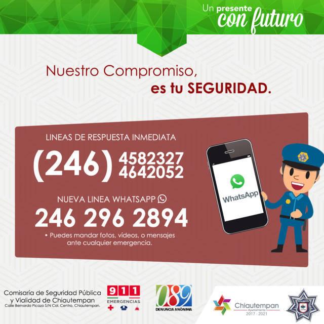 Seguridad Pública de Chiautempan activa línea de respuesta inmediata