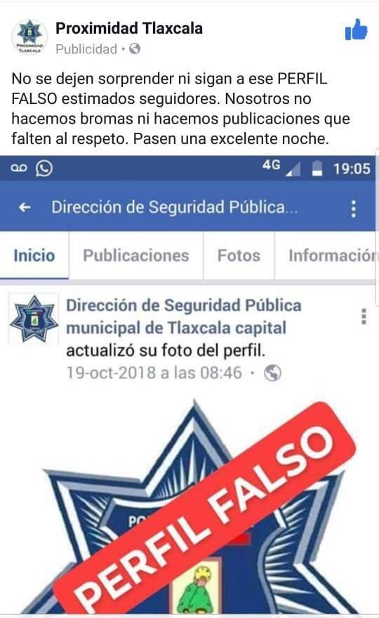 Advierte seguridad pública de la capital sobre cuenta falsa en Facebook