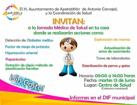 "Convocan a ""jornada de salud gratuita"", este martes en Apetatitlán"