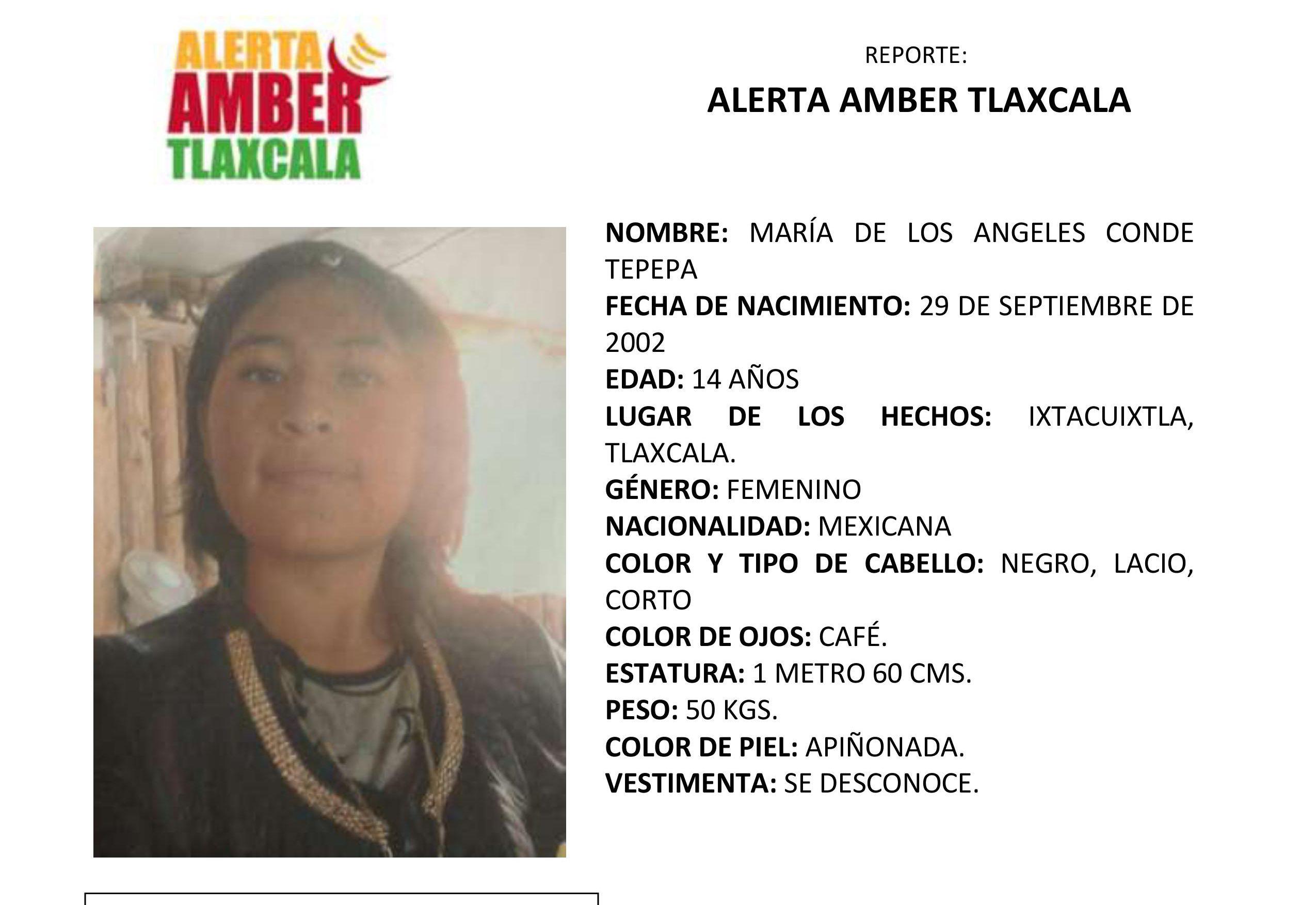 Activan la Alerta Amber para localizar a Maria de los Angeles Conde Tepepa