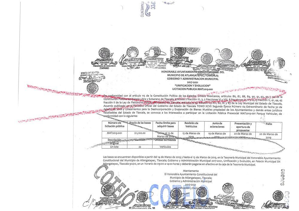 Convocatoria para licitación pública en Atlangatepec