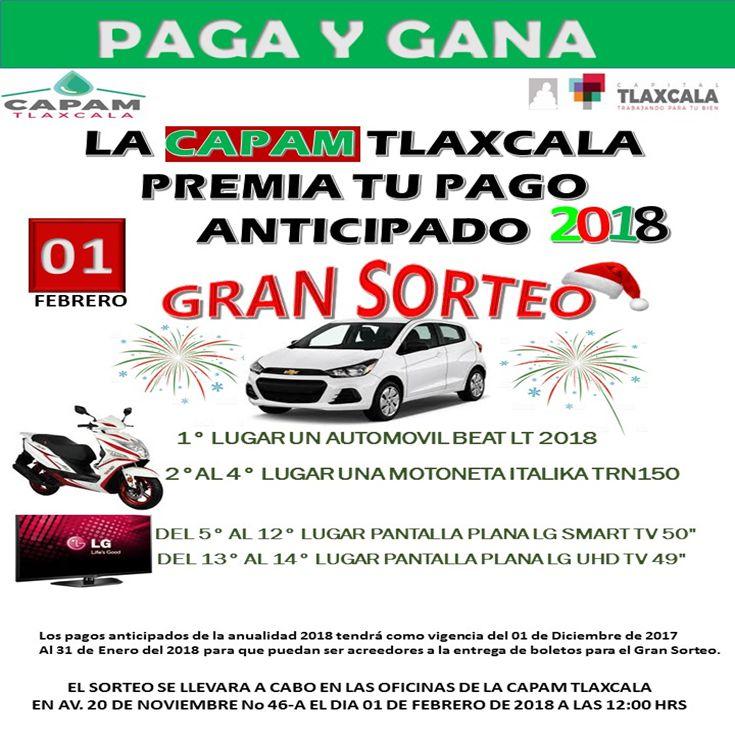 Paga y gana, la CAPAM Tlaxcala premia tu pago anticipado 2018