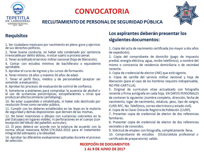 Gobierno Municipal de Tepetitla abre convocatoria para reclutar personal de seguridad