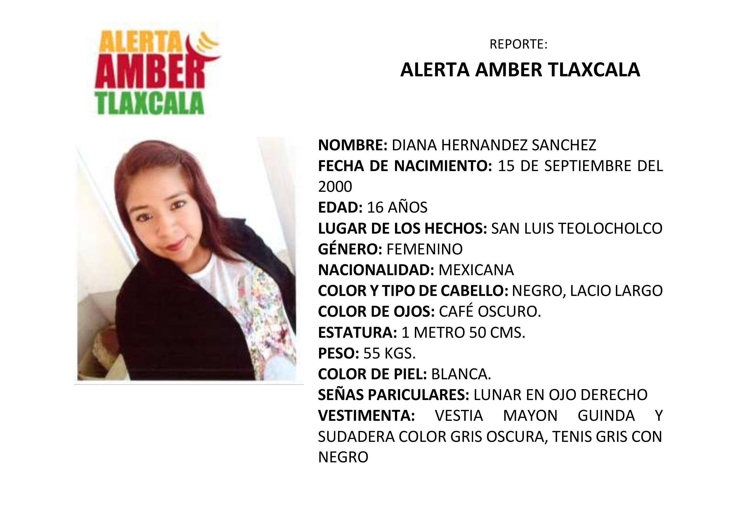 Activan la Alerta Amber para la localización de Diana Hernández