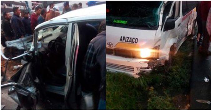 Carambola en Tetla deja cinco heridos, uno prensado y de gravedad