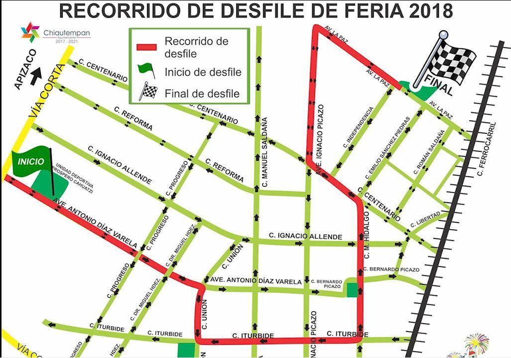 Cierre de calles por Desfile de Feria Chiautempan 2018