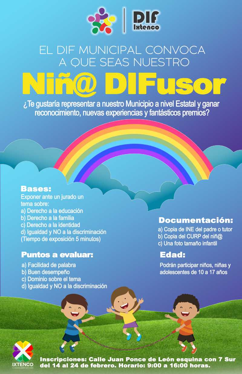 Lanza SMDIF Ixtenco convocatoria para difusor de derechos de niñ@s y adolescentes