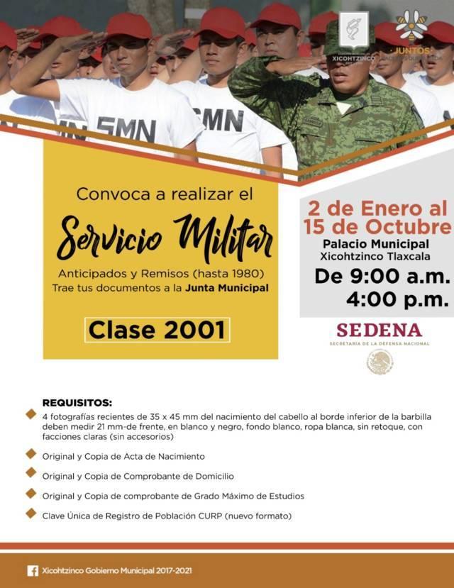 Invitan a jóvenes de Xicohtzinco a realizar Servicio Militar