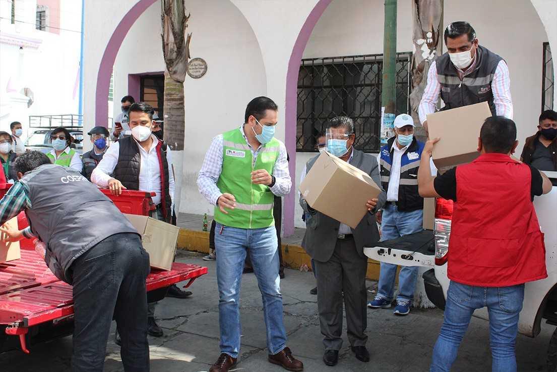 Continúan la distribución de 3,797 kits de prevención Covid-19 en San Pablo del Monte