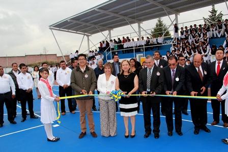 Inauguran en Texóloc canchas en la escuela Técnica 21