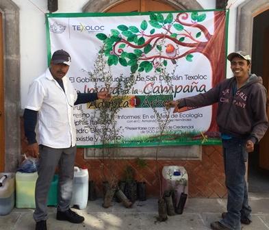 Entregan más de 700 árboles a familias de Texoloc