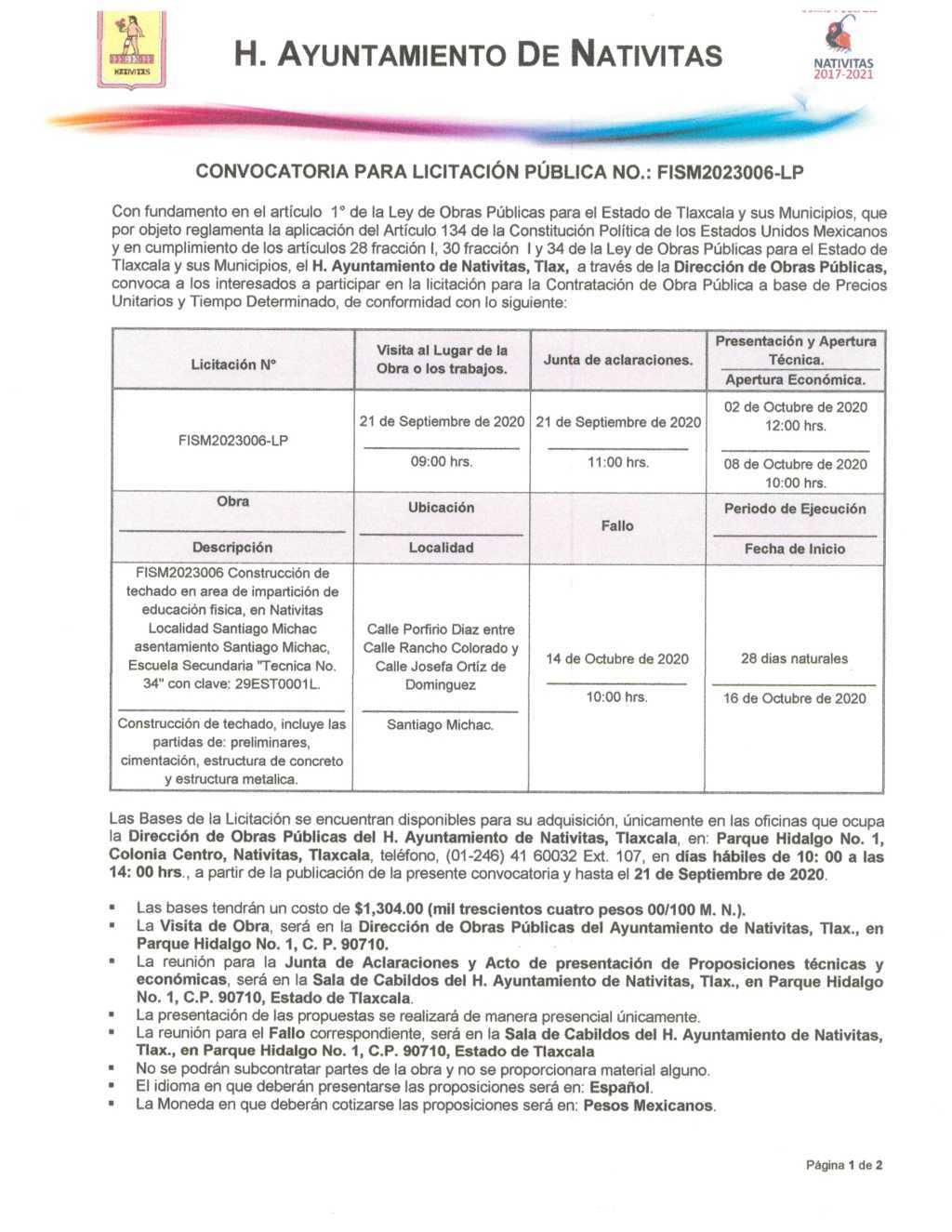 Convocatoria para licitación en Nativitas, Techumbre Michac