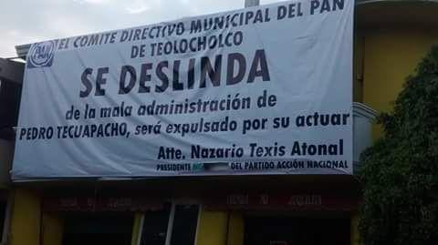 Se deslinda el PAN del alcalde Pedro Tecuapacho
