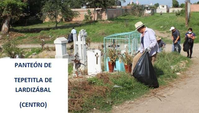 """Gobierno de Tepetitla realizó """"Jornada de Limpieza en Panteones"""""""