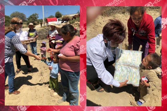 Personal del SMDIF Huamantla entrega apoyo alimentario en la comunidad de Pilares