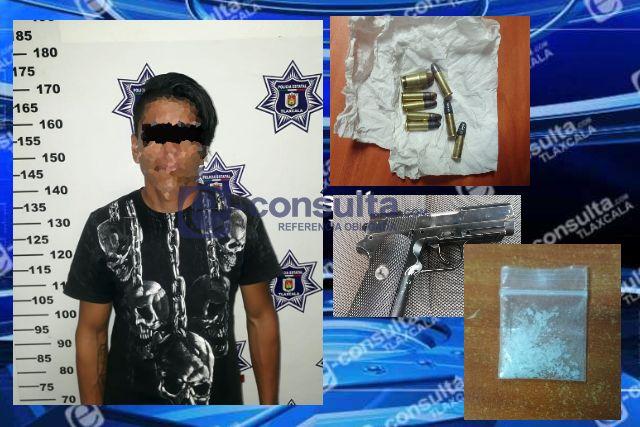Policía Estatal detiene en Tetla a una persona con arma de fuego