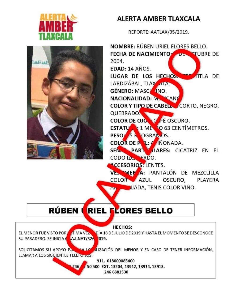 Ubican autoridades a menor reportado como desaparecido en Tepetitla de Lardizábal