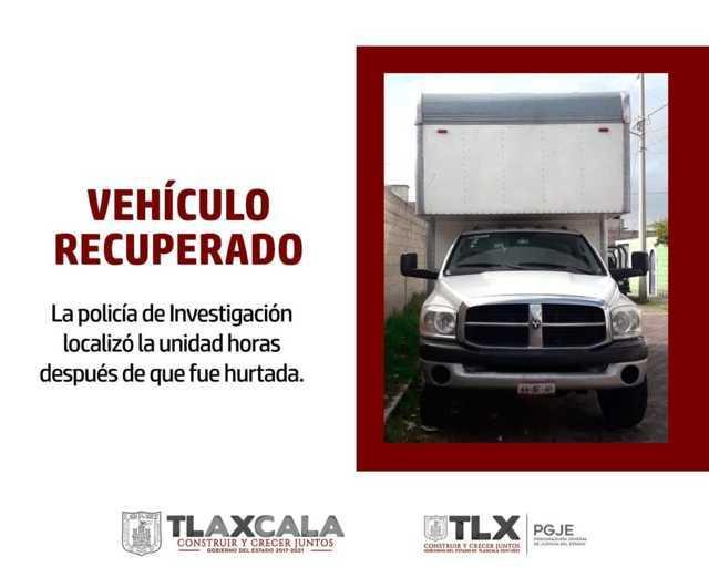 Recupera PGJE Camioneta Que Fue Robada En Huamantla