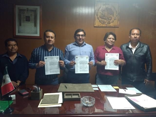Firman convenio H. Ayuntamiento de Totolac y Sindicato 7 de Mayo