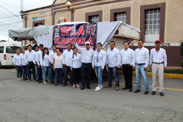 En Tetla se dio segundo banderazo de salida de víveres al estado de Puebla