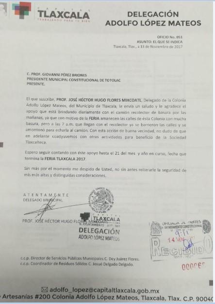 Delegado de la López Mateo agradece apoyo del alcalde de Totolac