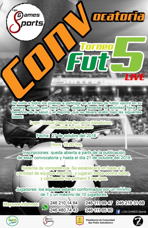 Invitan al Torneo Fut 5 live, aún hay inscripciones