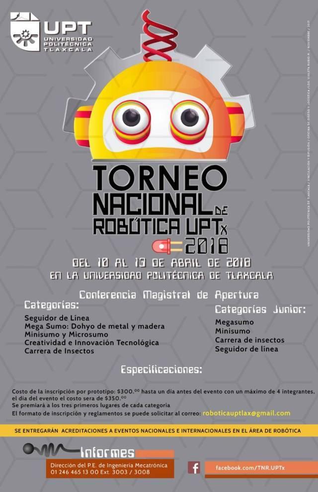 Abierta convocatoria para participar en el Torneo Nacional de Robótica UPTx 2018
