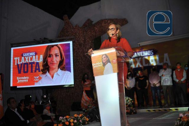 Voto útil para recuperar a Tlaxcala, pide Eréndira Jiménez en su cierre de campaña