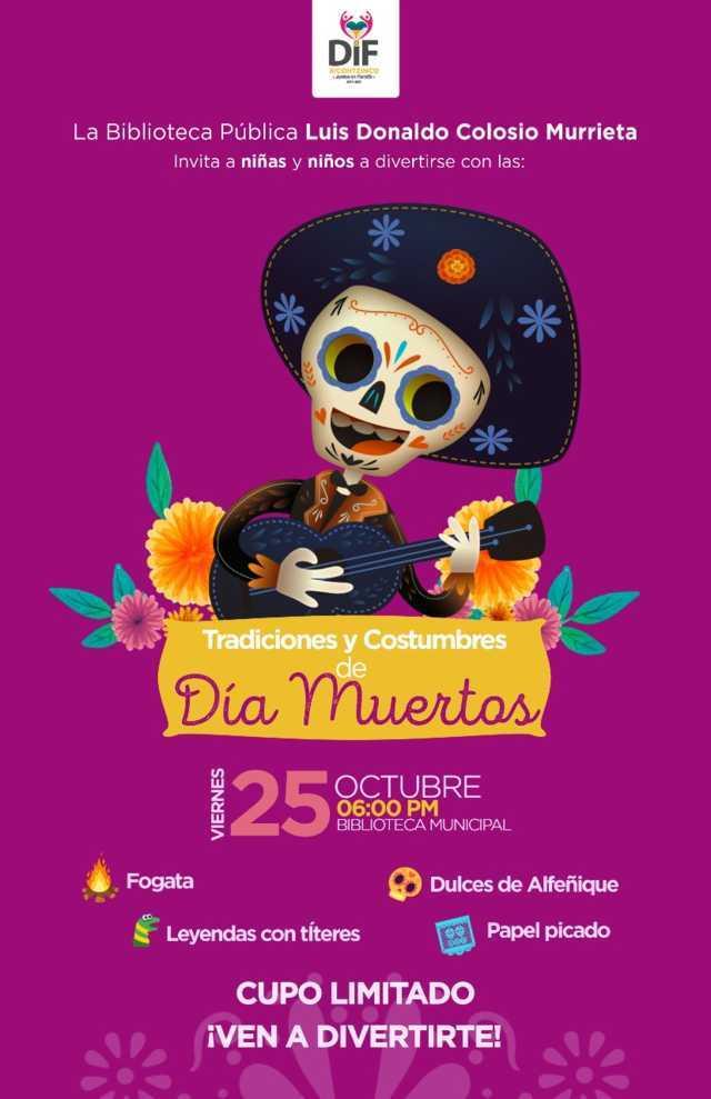 Invita Biblioteca de Xicohtzinco a seguir las tradiciones y costumbres de Día de Muertos