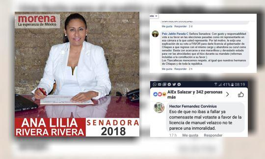 Reclaman a senadora Rivera de MORENA por traidora