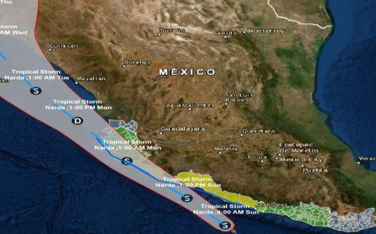 Narda mantiene trayectoria paralela a las costas del Pacífico Mexicano