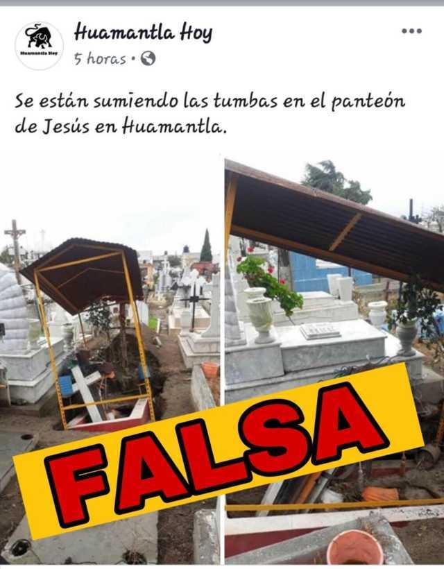 No hay hundimiento en el panteón de Jesús como lo dice Huamantla Hoy: alcalde