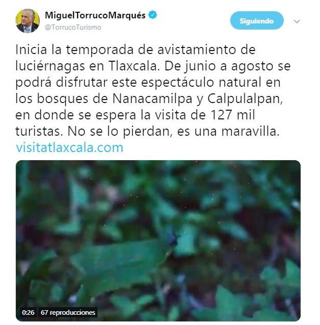 Secretario de Turismo federal promueve Luciérnagas de Tlaxcala