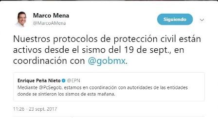 Permanecen activos protocolos de protección civil: Marco Mena