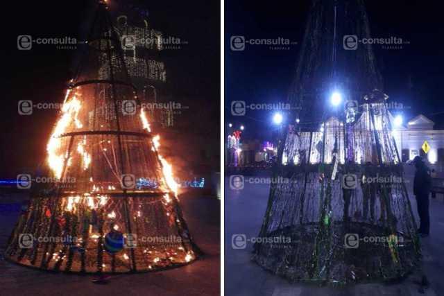 El Grinch de Ixtenco quema Árbol de Navidad a unas horas que fuera encendido