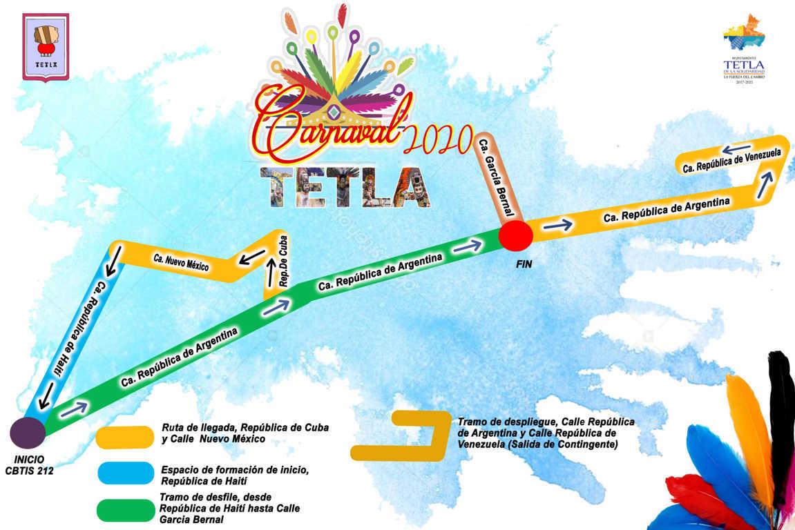 Este sábado 29 de febrero, vive la  alegría, música y color en el Carnaval Tetla 2020