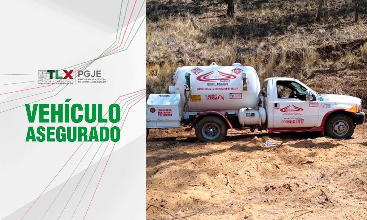 Asegura PGJE pipa de gas abandonada en terrenos de labor en Calpulalpan