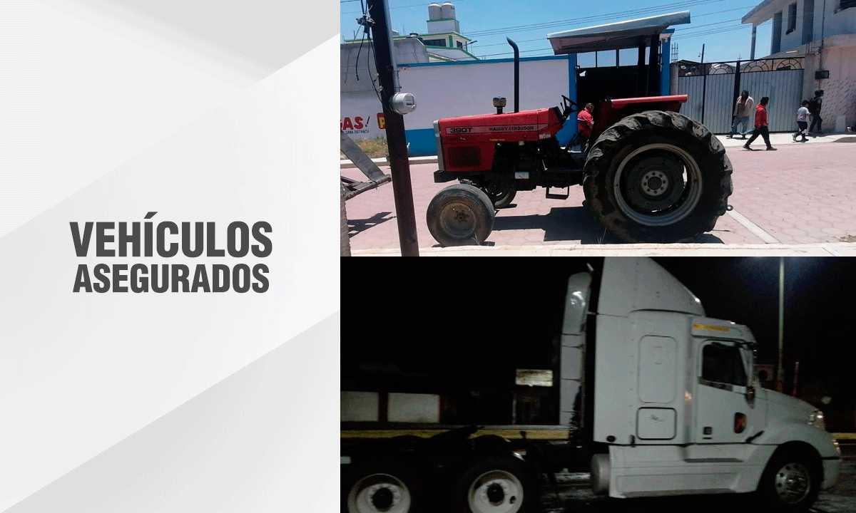Recupera PGJE un tractocamión y un tractor con reporte de robo