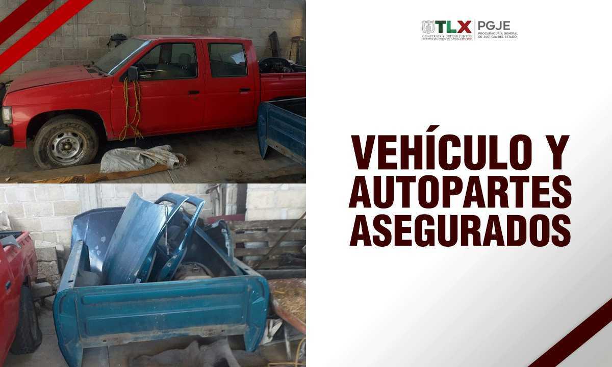 En diligencia de extracción PGJE recupera vehículo y autopartes