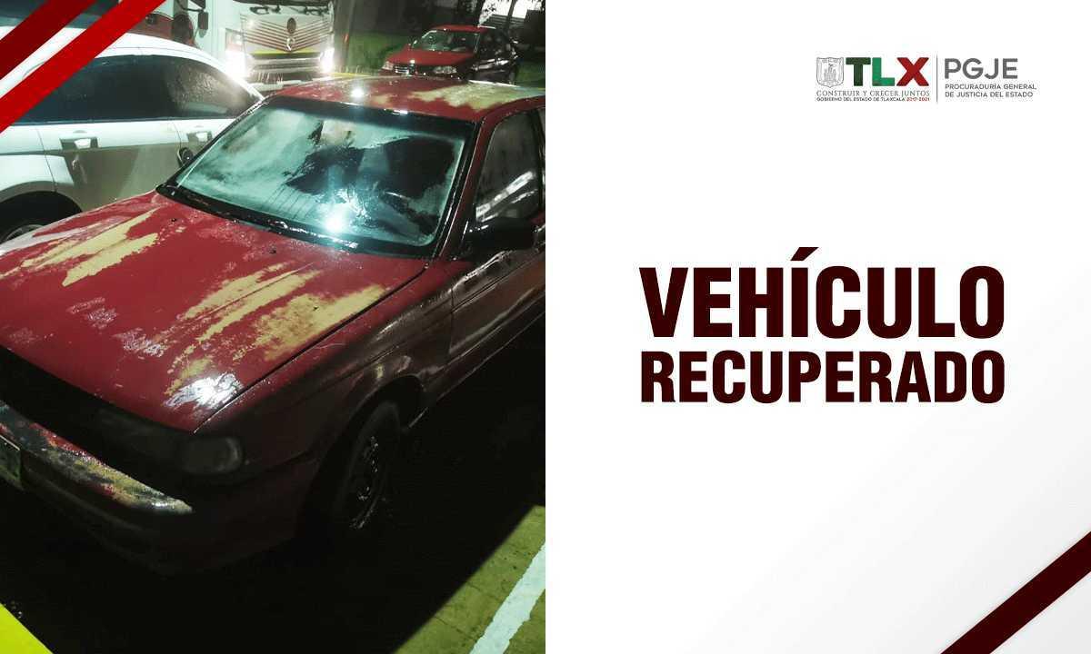Recupera PGJE vehículo que fue robado en Tlaxcala
